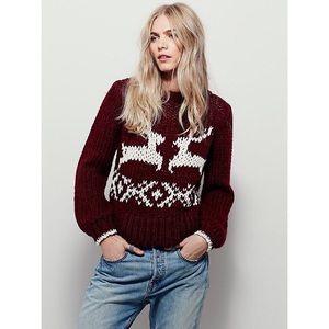 Free People Dancer & Prancer Reindeer Sweater Sz L